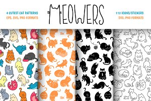 Meowers Icons and Seamless Pattern
