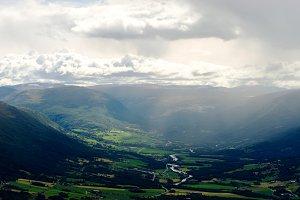Raining in Oppdal mountain valley landscape background