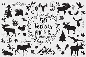 Moose Woodland Vectors & PNG Clipart