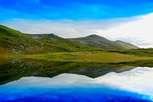 Mountain hills with reflection landscape background