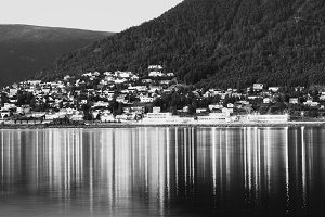 Tromso community with lights reflections background