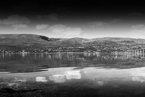 Black and white Norway community landscape background