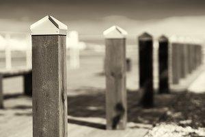 Quay border columns sepia background