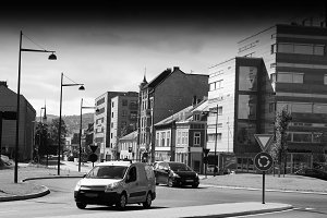 Norway black and white city streets background