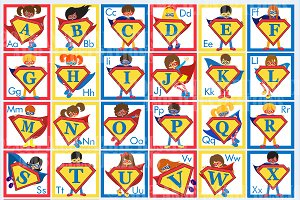 Superhero Alphabet Clipart AMB-496