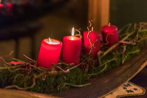 Red candles decoration