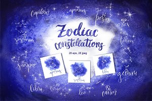 Watercolor Zodiac constellations