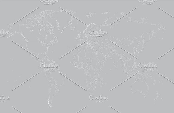 World Map With Borders Gray