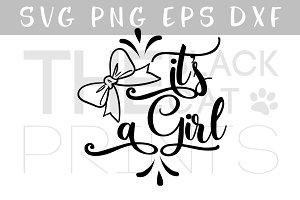 It's a girl Bow SVG PNG EPS DXF