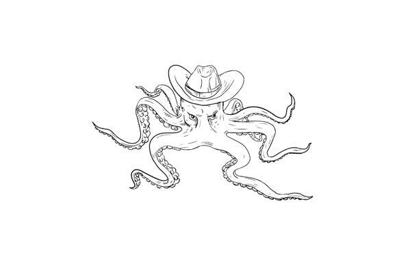 804f362dad3 Octopus Wearing Cowboy Hat Drawing ~ Illustrations ~ Creative Market