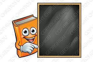 Cartoon Book and School Blackboard