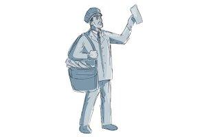 Vintage Postman Holding up Letter