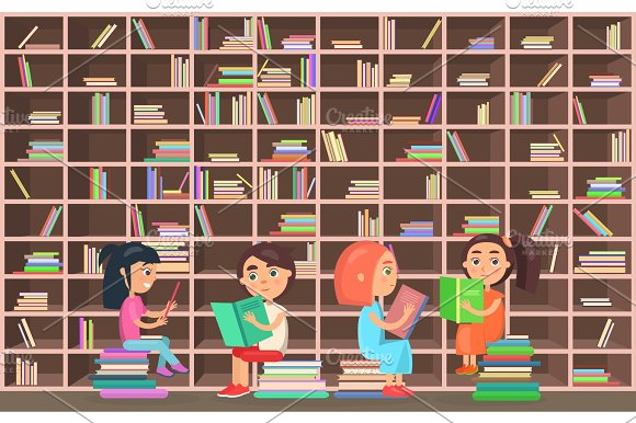 Children in Library Read Books Beside Bookcase