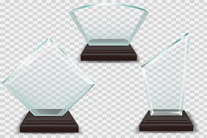 Modern Glass Trophies Prizes Vector