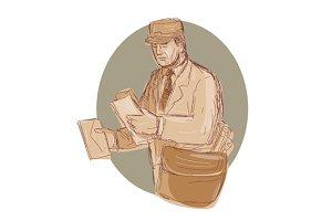 Vintage Postman Delivering Letter