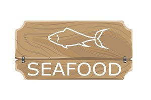 Seafood Template Poster with Fish Sign on Board