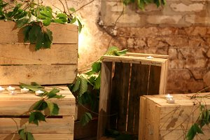 Wooden boxes for loft decor
