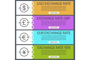 Currencies exchange rates web banner templates set