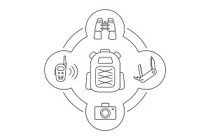 Tourist's backpack contents linear icons set