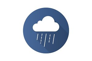 Rainy cloud flat design long shadow glyph icon