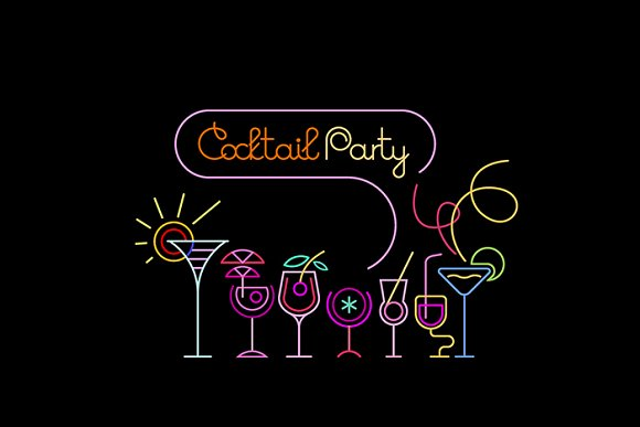 Cocktail Party Neon Sign Design