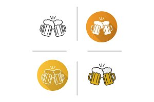 Toasting beer glasses icon