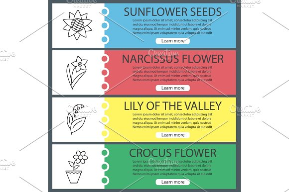 Flowers Web Banner Templates Set