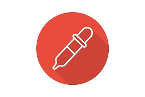 Pipette flat linear long shadow icon