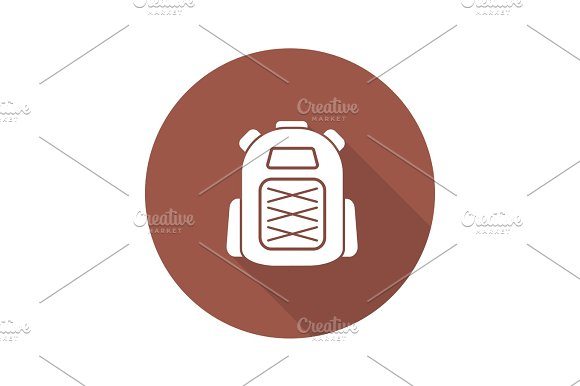 Backpack Flat Design Long Shadow Glyph Icon