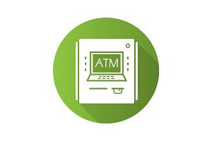 ATM machine flat design long shadow glyph icon
