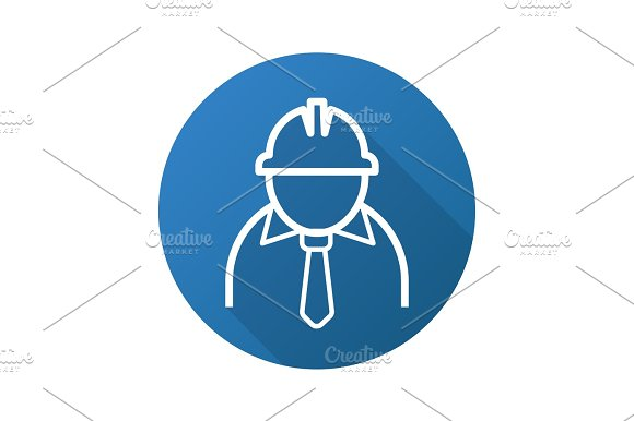 Mine Worker Flat Linear Long Shadow Icon