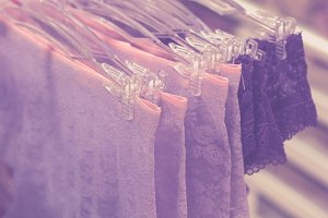 Boutique sale women underwear clothes. Big shopping mall on Bali island, Indonesia.