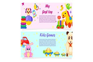 My First Toy and Kids Games Posters with Text
