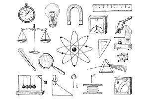 compass and magnet, alpelmet with thermometer and microscope. engraved hand drawn in old sketch and vintage symbols Calculation in physics Back to School Element of Science and laboratory experiments.
