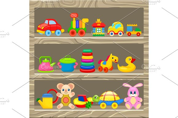 Colorful Childrens Toys Stand On Wooden Shelf