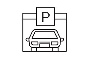 Parking place linear icon