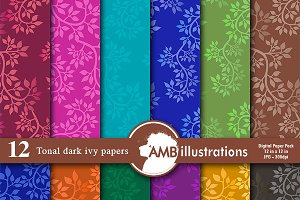 Ivy Pattern Digital Papers, AMB-809