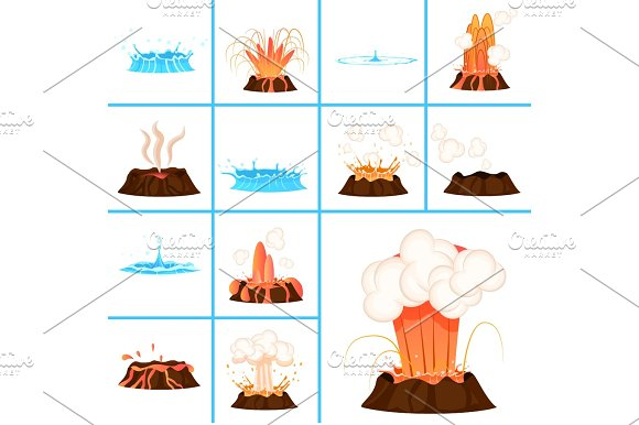 Hot Lava And Clear Water Splashes Illustrations