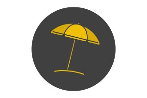 Beach umbrella glyph color icon