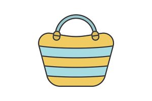 Beach bag color icon