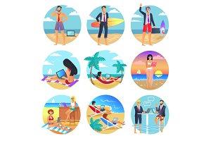 People Work on Summertime Round Illustrations Set