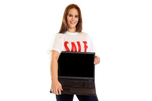 Young Woman With 'sale' T-shirt And Laptop