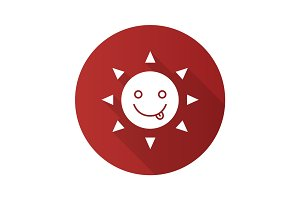 Yummy sun smile flat design long shadow glyph icon