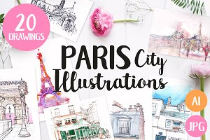 20 Paris City Illustrations &Pattern