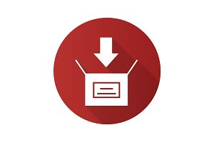 Box packing flat design long shadow glyph icon