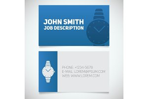 Business card print template with wristwatch logo