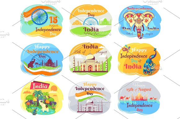 Indian Independence Day Celebration Emblems Set