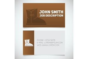Business card print template with warm boot logo