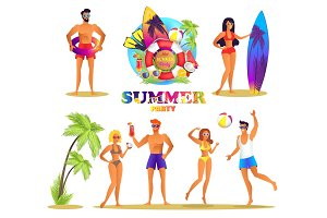 Summer Party Bright Isolated Illustrations Set