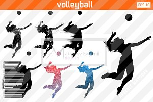 Silhouette of a volleyball P. Set